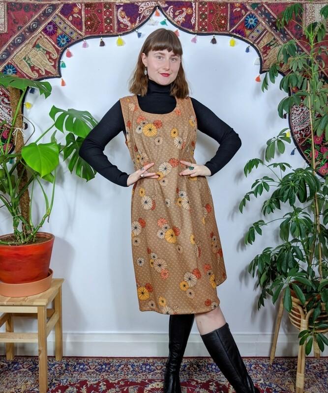 VINTAGE 70S ORANGE FLOWER PRINT DRESS