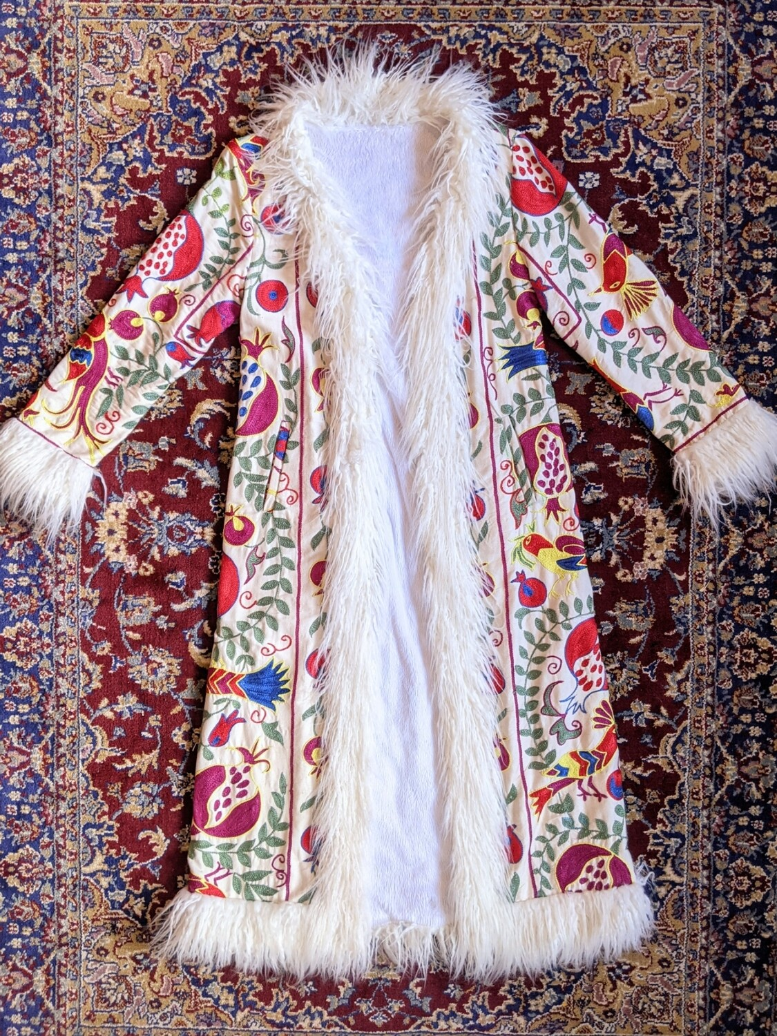 HANDMADE EMBROIDERED AFGHAN FAUX FUR COAT