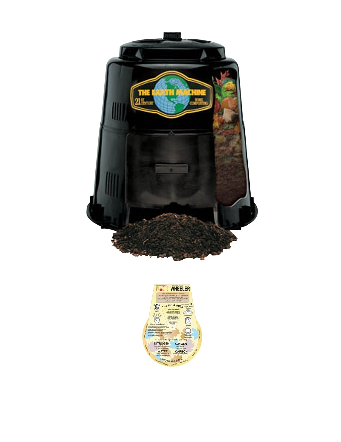 """Earth Machine Composter - This price is for Camden County Residents only, and includes our exclusive """"Rottwheeler."""""""