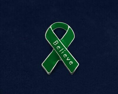 NEW ITEM: Green Awareness Ribbon Believe Pins