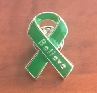 NEW ITEM: Green Awareness Ribbon Believe Pins