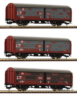 Fleischmann H0 533709 Set de tres vagones de parredes correderas tipo Hbis 299, DB AG