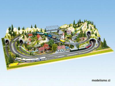 """Noch 81610 Área prefabricada """"Mittenwald"""" con NOCH 62200 Marco de aluminio 200 x 100 cm, extensible a 120 cm."""