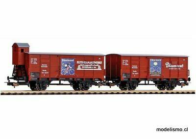 Piko H0 58368 Juego de 2 vagones de carga cubiertos G02