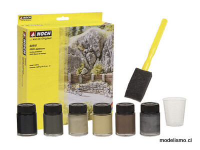 Noch 61200 Juego de colores naturales, 6 concentrados de color, 20 ml cada uno, 1 vaso mezclador, 1 esponja