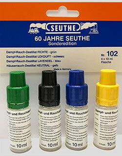 """Seuthe 102 Juego de destilado de vapor y humo 4 x 10ml botella - Edición especial """"60 años de Seuthe"""""""