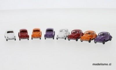 Brekina 90457 VW Beetle Set Set con 8 modelos VW Beetle, 2 piezas cada una en 4 colores Economy, 1:87