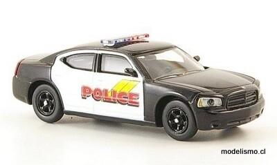 Ricko 38268 Dodge Charger Police (Estados Unidos) negro, blanco, 1:87