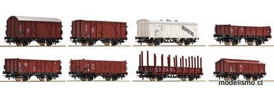 Roco H0 44002 Vagones de mercancías de 8 piezas, DB