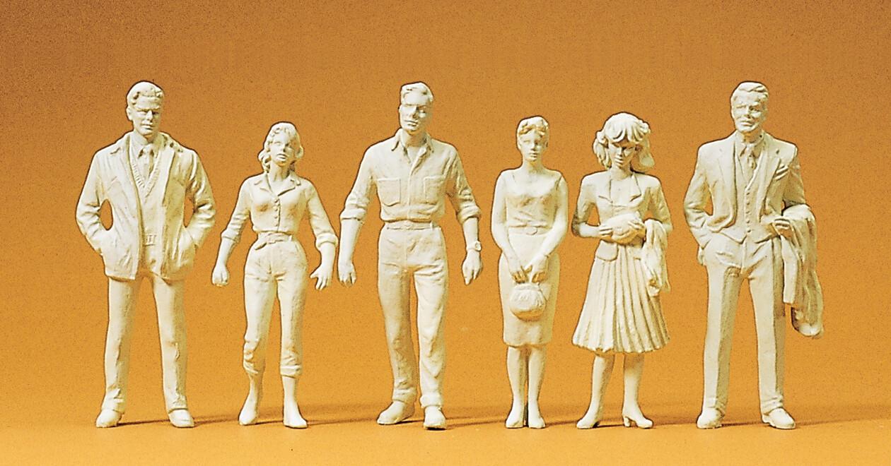 Preiser 45178 G Transeúntes. 6 figuras en miniatura sin pintar