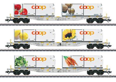 """Märklin H0 47461 Set de vagones portacontenedores """"Coop"""""""