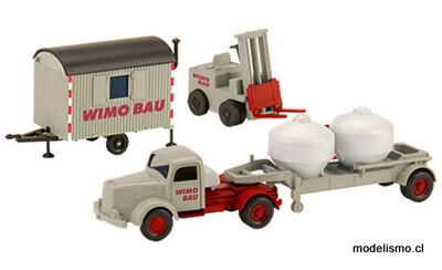 Reserva anticipada Wiking/PMS H0 246557 Set WiMo-Bau: Ausgabe 1, MB L 5000 S Zement-camión trailer, elevadora tenedor y Vehiculo para construcciones