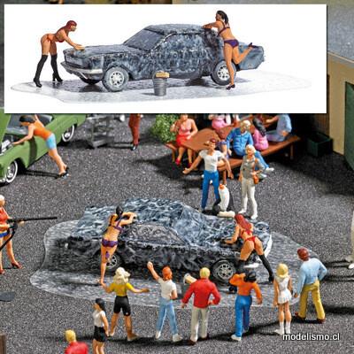 Reserva anticipada Busch H0 7824 Conjunto de acción: Lavado de auto