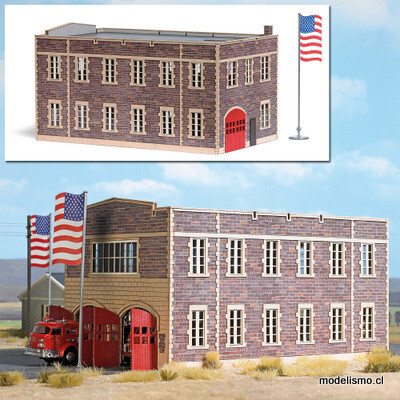 Reserva anticipada Busch H0 9732 Estación de bomberos de EE. UU.