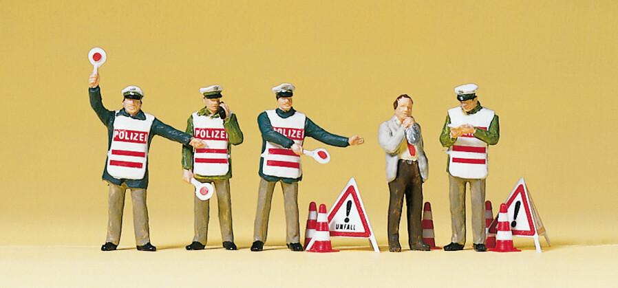 Preiser 10419 H0 - Agentes de policía con chalecos de seguridad.