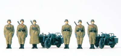 Preiser 16571 H0 - Fusileros de motocicleta de pie. Motocicleta Zündapp KS 750 de la antigua Wehrmacht alemana (EDW) 1939-45. 6 figuras en miniatura sin pintar. 2 motos con sidecar.