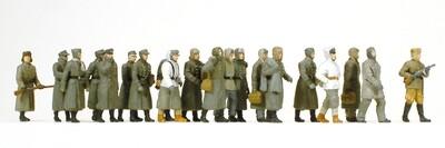 Preiser 16578 H0 - Prisioneros de guerra alemanes. 20 figuras en miniatura sin pintar