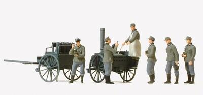 Preiser 16594 H0 - Distribucion de comida. Deutsches Reich, Cocina de campaña. 6 figuras en miniatura sin pintar.
