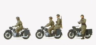 Preiser 16598 H0 - Motociclistas, montados, de la ex Wehrmacht alemana (EDW), época II. Kit con cuatro figuras, sin pintar.