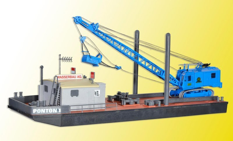 Kibri 39156 Pontón de trabajo H0 con MENCK excavadora M154 LC con redes de arrastre