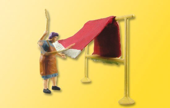 Viessmann 1523 H0 Muchacha de granja con sacudidor de alfombras, moviéndose