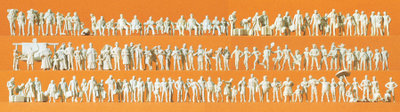Preiser 79006 N - Viajeros, transeúntes, diferentes grupos de personas. 125 figuras en miniatura sin pintar. Kit.
