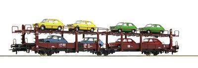 Roco H0 76834 - Vagón portacoches, DB con 8x Fiat 127