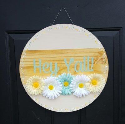 """""""Hey Y'all"""" Door Sign"""