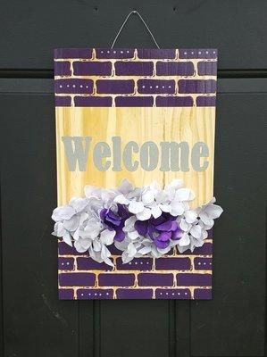 """""""Welcome"""" Brick Print Door Sign"""