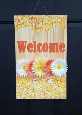 """""""Welcome"""" Crackled Print Door Sign"""