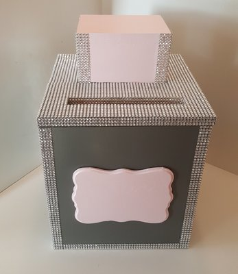 Gray/Light Pink Wedding Card Box