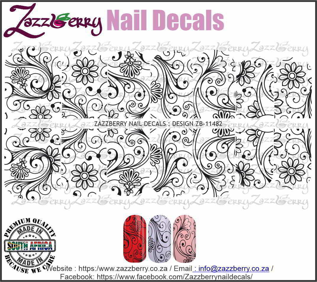 Flowery Lace Swirls (Black/White/Foil)