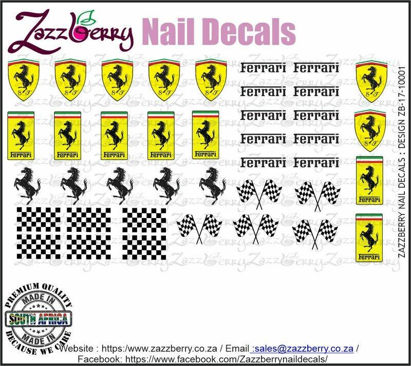 Ferrari Water Slide Nail Decals