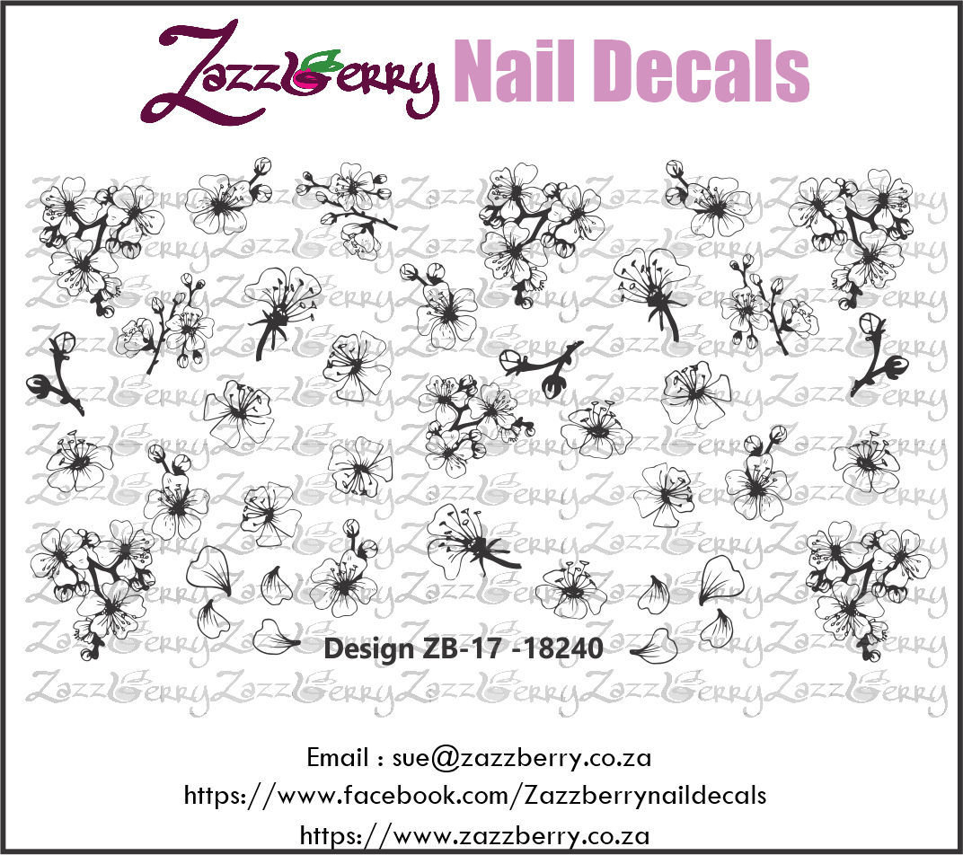 Cherry Blossom Outline Nail Decals