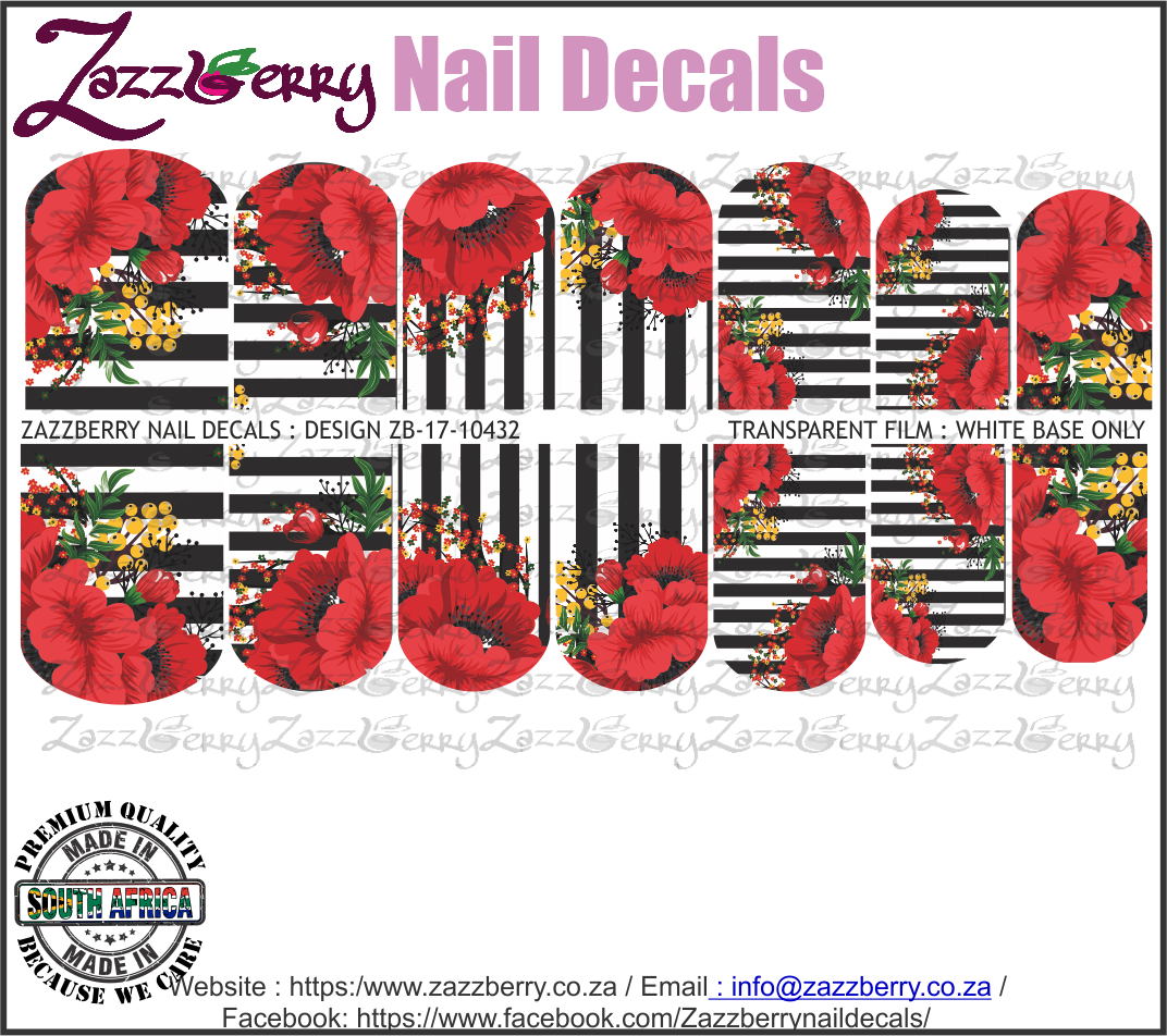Red Flowers and Black Stripes