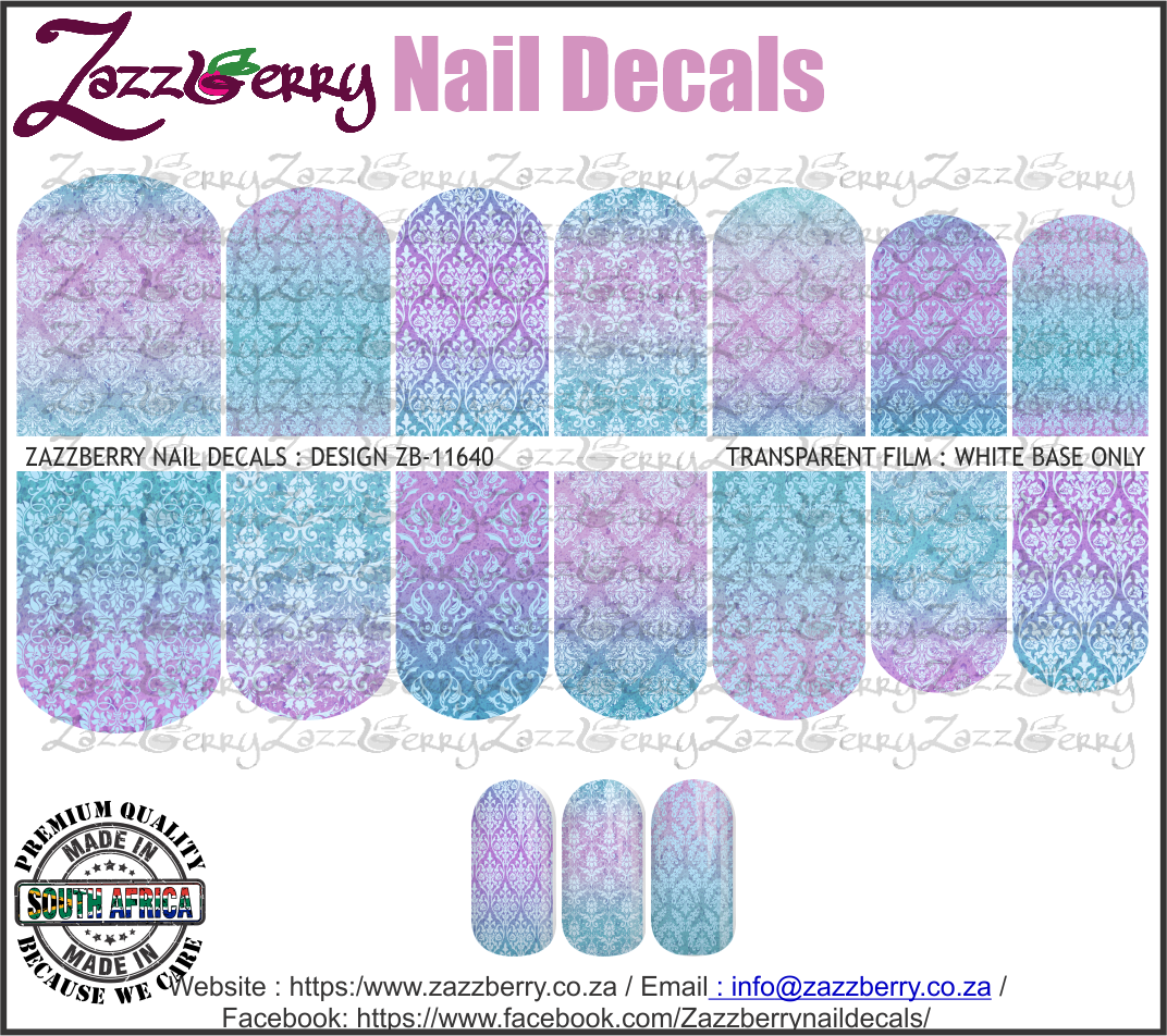 Blue Purple Damask Ombre