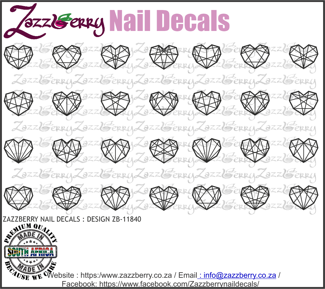 Geometric Hearts ( Black/White/Foil)
