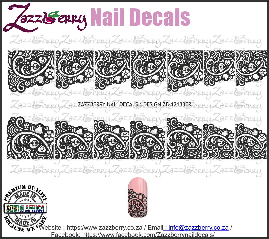 Heart Lace French Mani (Black or White)
