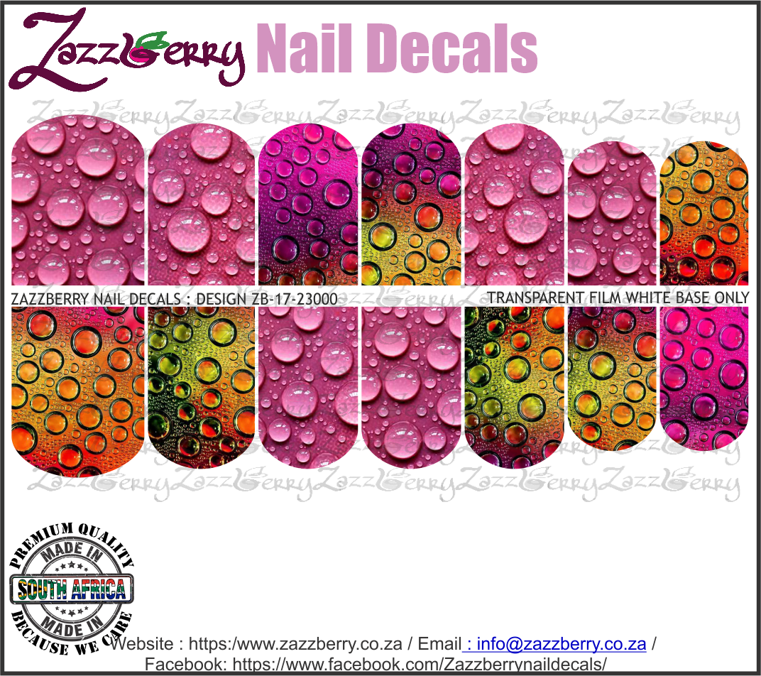 Waterdrops of Color Nail Decals