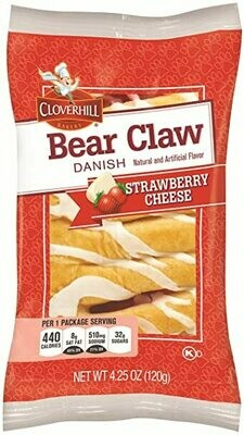 * Cloverhill Danish Strawberry Cheese Bear Claw 4.25 Ounces