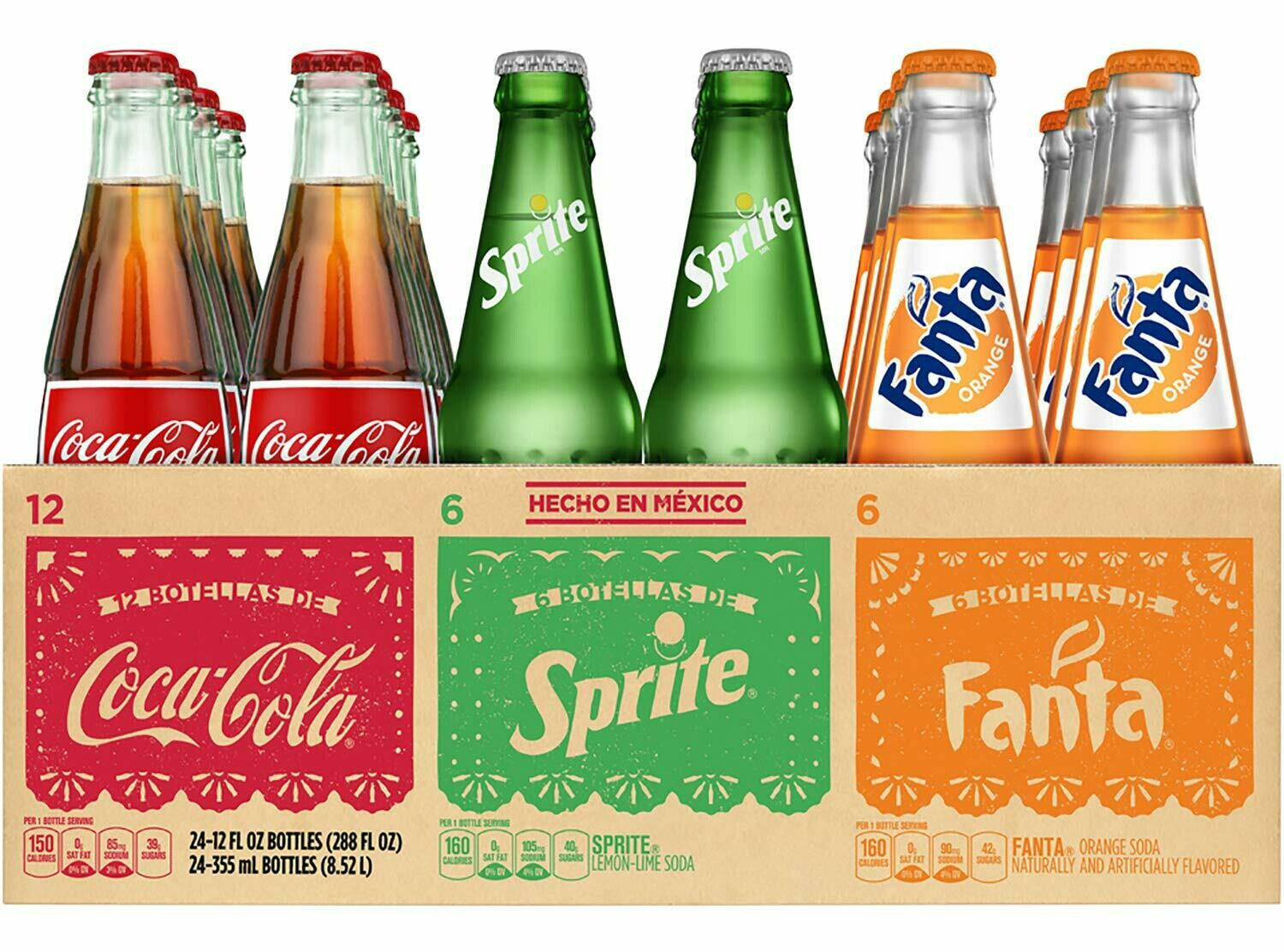 * Mexican Fiesta Variety Pack Of Soda 24-12 Ounces Glass Bottles