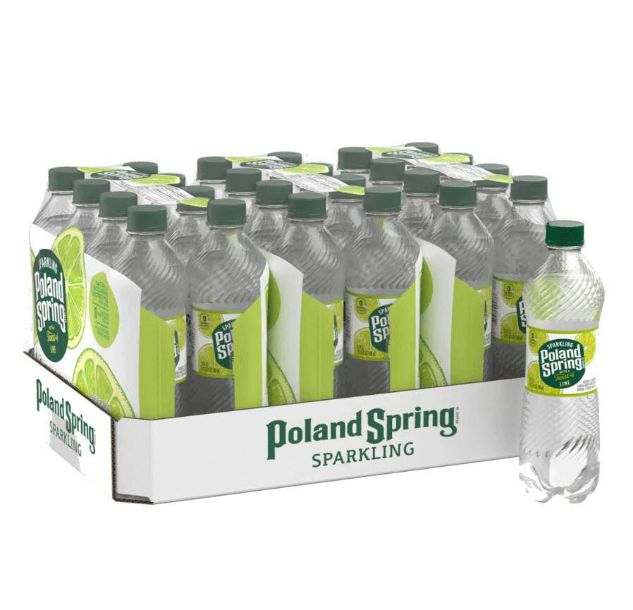 * Poland Spring Lime Sparkling Water 24-16.9 Ounces