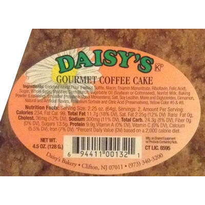 * Daisy's Bakery Individually Wrapped Coffee Cake 12-5 Ounces