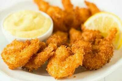 * Frozen Captain's Catch Coconut Breaded Shrimp 21-25, Butterfly, Tail-On, IQF, 3 Lb Box