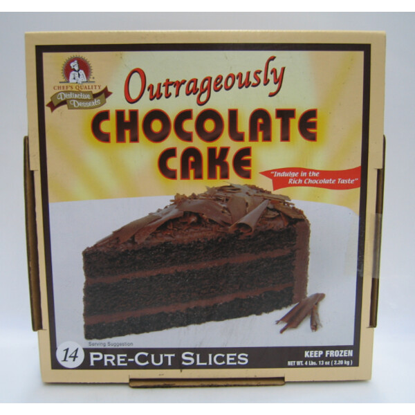 * Frozen Chef's Quality Distinctive Desserts Outrageously Chocolate Cake 14 Slices