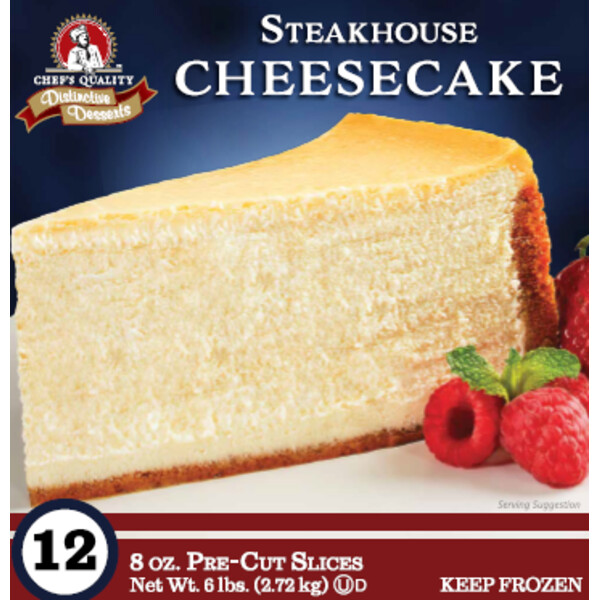* Frozen Chef's Quality Steakhouse Style Cheesecake 12 Slices