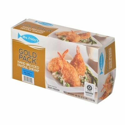* Frozen Mrs Fridays Breaded Fantail Shrimp, U-15 Count, 2.5 Lb Box