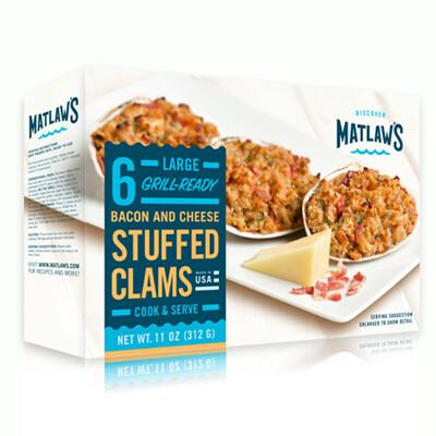 * Frozen Matlaws Gourmet Stuffed Clams Casino 6 Count Per 18 Ounces Pkg