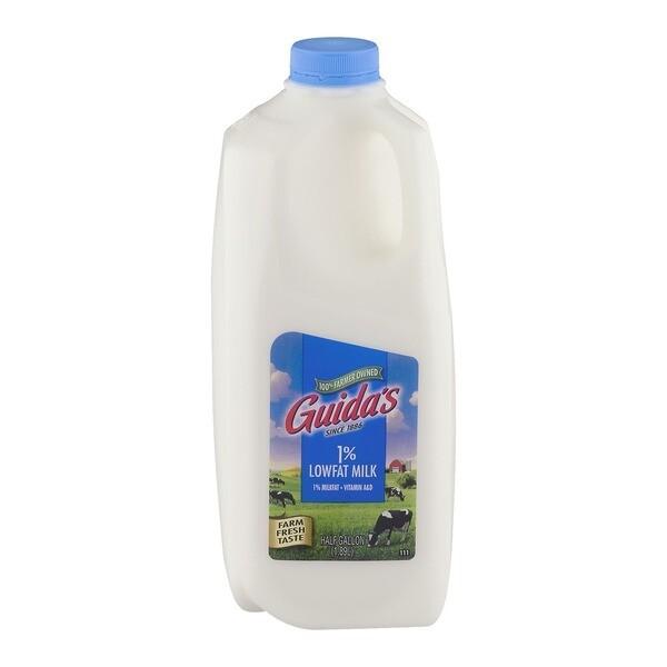 * Guida's Dairy 1% Lowfat Milk 1/2 Gallon