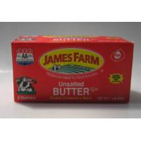* James Farm Unsalted Butter Quarters 1 Pound